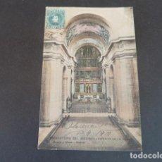 Postales: EL ESCORIAL MADRID MONASTERIO INTERIOR DE LA IGLESIA HAUSER Y MENET SIN DIVIDIR ILUMINADA. Lote 215979798