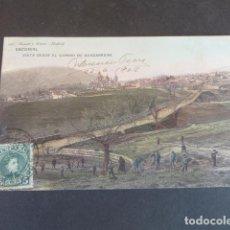 Postales: EL ESCORIAL MADRID VISTA DESDE EL CAMINO DE GUADARRAMA HAUSER Y MENET SIN DIVIDIR ILUMINADA. Lote 215980591
