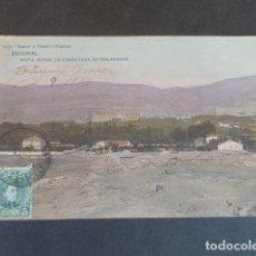Postales: EL ESCORIAL MADRID VISTA DESDE LA CARRETERA DE GALAPAGAR HAUSER Y MENET SIN DIVIDIR ILUMINADA. Lote 215980628