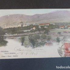 Postales: EL ESCORIAL MADRID VISTA GENERAL HAUSER Y MENET SIN DIVIDIR ILUMINADA. Lote 215980666