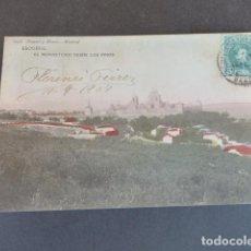 Postales: EL ESCORIAL MADRID EL MONASTERIO DESDE LOS PINOS HAUSER Y MENET SIN DIVIDIR ILUMINADA. Lote 215980710