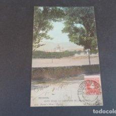 Postales: EL ESCORIAL MADRID VISTA DESDE LA CARRETERA DE LA ESTACION HAUSER Y MENET SIN DIVIDIR ILUMINADA. Lote 215981003