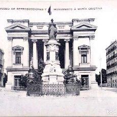 Postales: MADRID. 22 NUEVA. BLANCO/NEGROMUSEO DE REPRODUCCIONES Y MONUMENTO A MARÍA CRISTINA. .. Lote 218063170