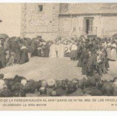 Postales: RECUERDO DE LA PEREGRINACIÓN AL SANTUARIO DE NTRA SRA.DE LOS ANGELES GETAFE 1910 CELEBRANDO MISA. Lote 220102335