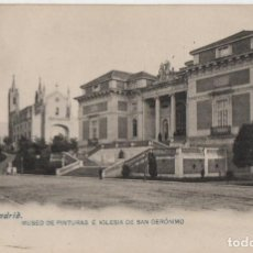 Postales: MUSEO DE PINTURAS E IGLESIA DE SAN JERONIMO-CIRCULADA Y CON SELLO-MADRID. Lote 220525435