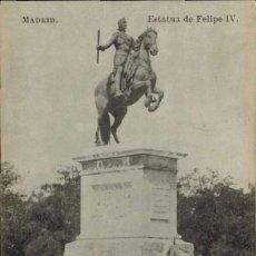Postales: MADRID. ESTATUA DE FELIPE IV. FOTOTIPIA J. ROIG. Lote 221614416