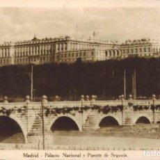 Postales: MADRID. PALACIO NACIONAL Y PUENTE DE SEGOVIA. Lote 221615095
