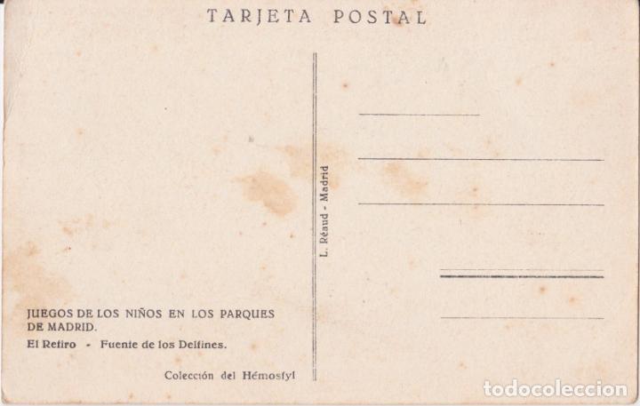 Postales: MADRID, PARQUE DEL RETIRO, FUENTE DE LOS DELFINES - L.RÉAUD COLECCIÓN HEMOSTYL - S/C - Foto 2 - 226124600