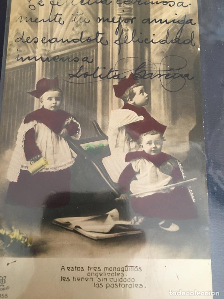 POSTAL DE 1909 T.G. MADRID, COLOREADA ORIGINAL, CON LEYENDA A MANO (Postales - España - Comunidad de Madrid Antigua (hasta 1939))