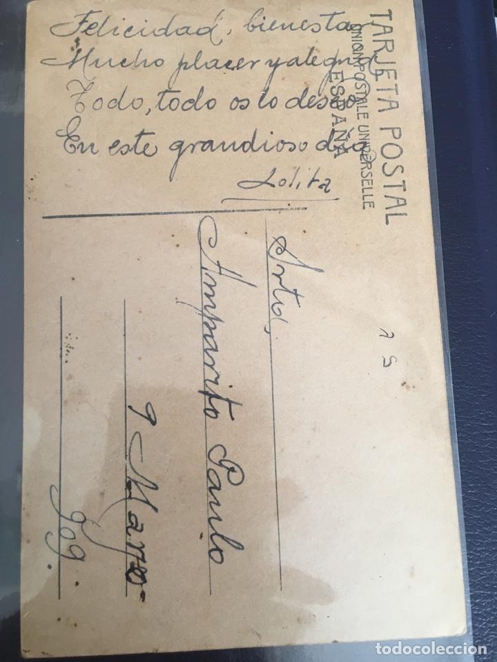 Postales: Postal de 1909 T.G. Madrid, coloreada original, con leyenda a mano - Foto 2 - 227990460