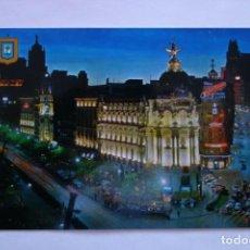 Postales: POSTAL MADRID CALLE DE ALCALA Y GRAN VIA VISTA NOCTURNA. Lote 228193190