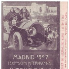 Postales: EXPOSICIÓN INTERNACIONAL DEL AUTOMOVILISMO, CICLISMO Y DEPORTES, MADRID - 1907. FOT. LACOSTE. Lote 235277000