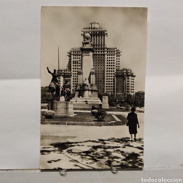 22 MADRID, MONUMENTO A CERVANTES, HELIOTÍPIA ARTÍSTICA ESPAÑOLA (Postales - España - Madrid Moderna (desde 1940))