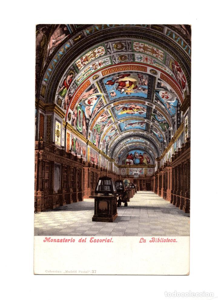 MONASTERIO DEL ESCORIAL.(MADRID).- LA BIBLIOTECA. (Postales - España - Comunidad de Madrid Antigua (hasta 1939))