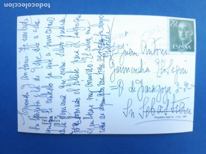 Postales: ANTIGUA TARJETA POSTAL MONASTERIO DEL ESCORIAL VISTA GENERAL CIRCULADA CON SELLO 1962 - Foto 2 - 234908445
