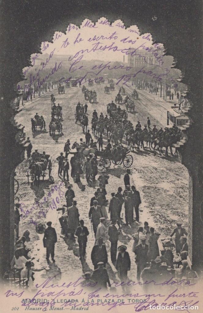 POSTAL 261 HAUSER Y MENET MADRID - LLEGADA A LA PLAZA DE TOROS - CIRCULADA SELLO ALFONSO XIII (Postales - España - Comunidad de Madrid Antigua (hasta 1939))