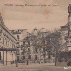 Postales: POSTAL MADRID - SENADO Y MONUMENTO A CANOVAS DEL CASTILLO. Lote 240388885