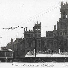 Postales: POSTAL FOTOGRAFICA ANTIGUA MADRID, PALACIO DE COMUNICACIONES Y LA CIBELES. Lote 244680685