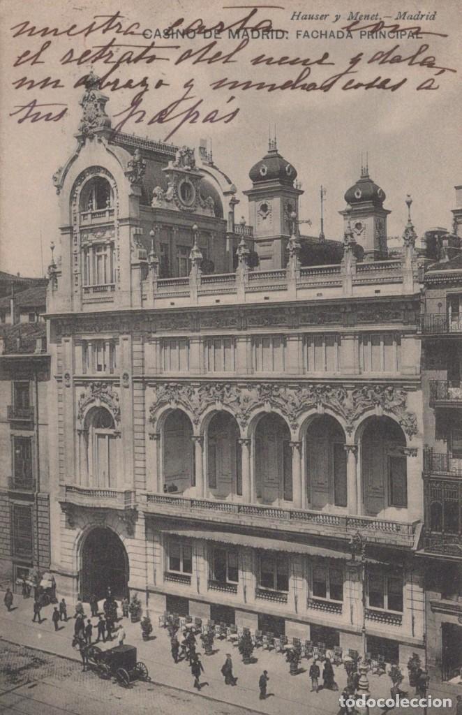 POSTAL CASINO DE MADRID - FACHADA PRINCIPAL - HAUSER Y MENET (Postales - España - Comunidad de Madrid Antigua (hasta 1939))