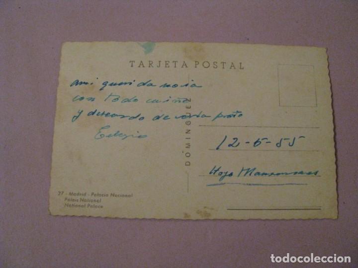 Postales: POSTAL DE MADRID. PALACIO NACIONAL. DOMINGUEZ Nº 27. ESCRITA. 1955. - Foto 2 - 245468940