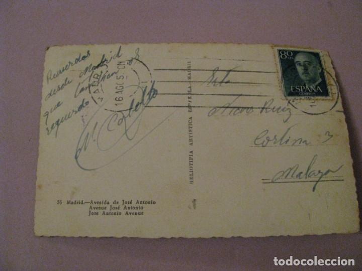 Postales: POSTAL DE MADRID. AVENIDA DE JOSE ANTONIO. HELIOTIPIA ARTISTICA ESPAÑOLA. 36. CIRCULADA. - Foto 2 - 245470830