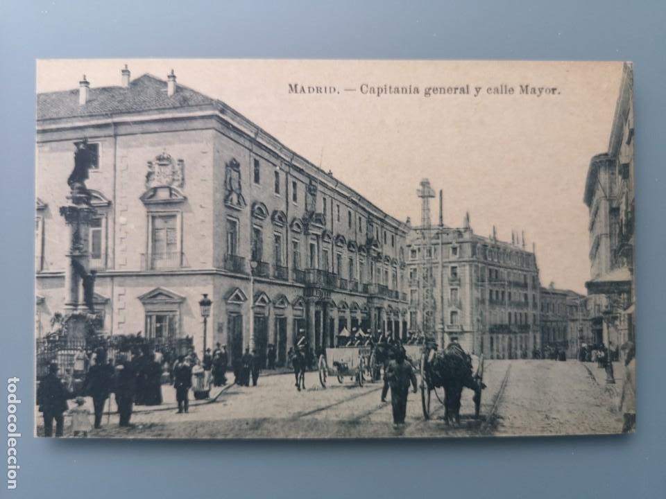POSTAL MADRID CAPITANIA GENERAL Y CALLE MAYOR EDI J. ROIG CARRO CABALLOS MILITARES LLEVANDO UN CAÑON (Postales - España - Comunidad de Madrid Antigua (hasta 1939))