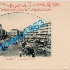 Postales: MADRID PUERTA DEL SOL. PUBLICIDAD DE GALLETAS MARTINHO, MADRID, REVERSO SIN DIVIDIR. Lote 246139305