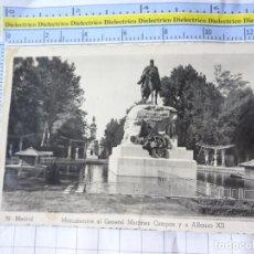Postales: POSTAL DE MADRID. AÑOS 30 50. MONUMENTOS AL GENERAL MARTÍNEZ CAMPOS Y ALFONSO XII. 32 ARRIBAS 3662. Lote 246146360