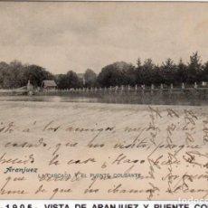 Postales: MADRID.- PUEBLO DE ARANJUEZ,PUENTE COLGANTE, CIRCULADA 1905,FOT, LACOST,JMOLINA1946. Lote 246447465