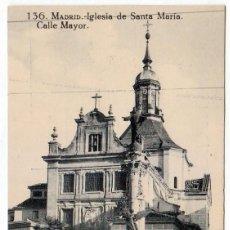 Postales: ANTIGUA MADRID Nº 136 IGLESIA DE SANTA MARÍA. CALLE MAYOR. GRAFOS. SIN CIRCULAR AA. Lote 252339565