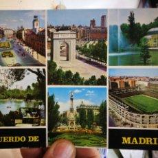 Postales: POSTAL MADRID PUERTA DEL SOL ARCO DE LA VICTORIA PALACIO DE CRISTAL LAGO DE LA CASA DE CAMPO ESTADIO. Lote 252480460