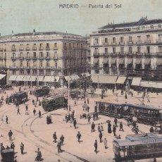 Cartes Postales: MADRID, PUERTA DEL SOL. NO CONSTA EDITOR. BYN COLOREADA. CIRCULADA. Lote 252545160