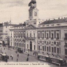 Cartes Postales: MADRID, MINISTERIO GOBERNACION Y PUERTA DEL SOL. ED. LL Nº 17. SIN CIRCULAR. Lote 252550105