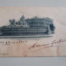 Postales: TARJETA POSTAL MADRID LA CIBELES HAUSER Y MENET 87 CIRCULADA EN 1902. Lote 253629265