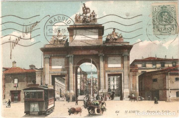 MADRID 68 PUERTA DE TOLEDO L.L. CIRC. EN 1911 (Postales - España - Comunidad de Madrid Antigua (hasta 1939))