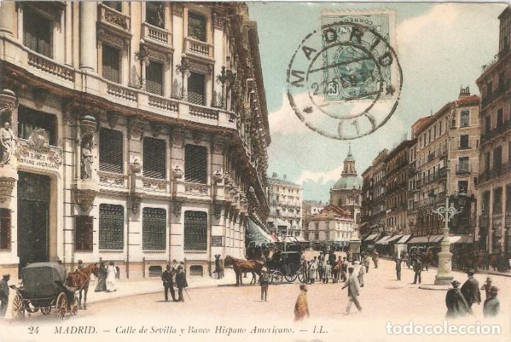 MADRID 24 CALLE SEVILLA Y BANCO H. A. L.L. C. EN 1911 (Postales - España - Comunidad de Madrid Antigua (hasta 1939))