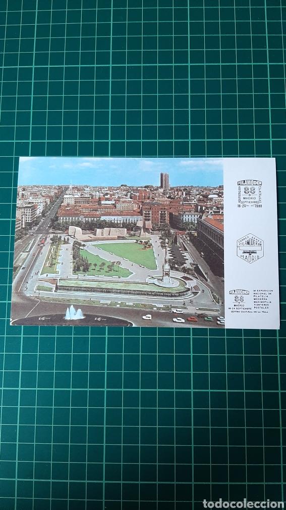 Postales: MADRID FILAMODER EXPOSICIÓN FILATÉLICA MAXIMOFILIA Y ENTEROS POSTALES 1988 MATASELLO RODILLO ENTRAD - Foto 2 - 259056305