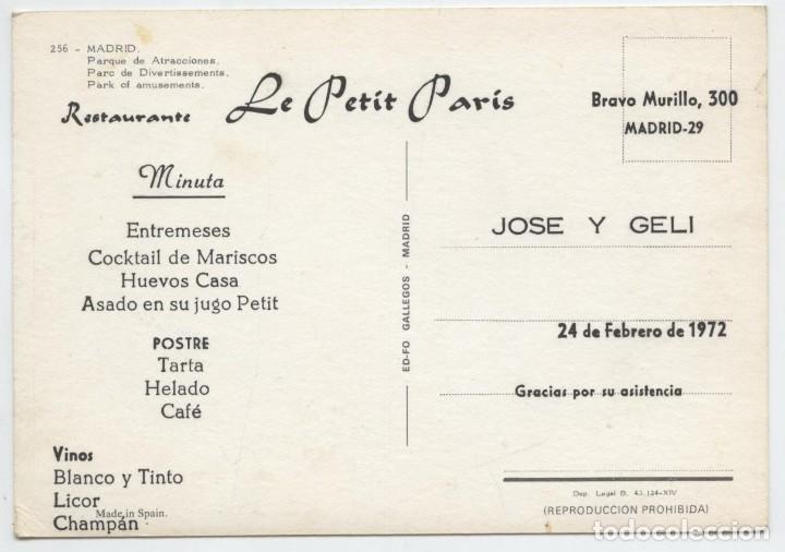 Postales: Nº 256-MADRID. Parque de Atracciones. Publicidad Rest. Le Petit París. 1972. ED. FO GALLEGOS - Foto 2 - 262920275