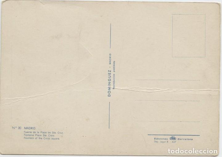 Postales: Nº 20-MADRID. Fuente de la Plaza de Sta. Cruz. Sin circular. ED. DOMÍNGUEZ - Foto 2 - 262921375