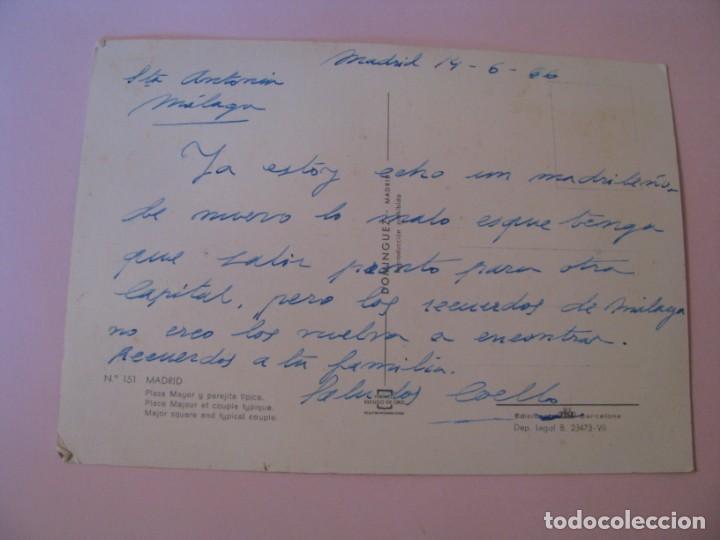 Postales: POSTAL DE MADRID. PLAZA MAYOR Y PAREJA TÍPICA. DOMINGUEZ. ESCRITA. 1966. - Foto 2 - 263032580
