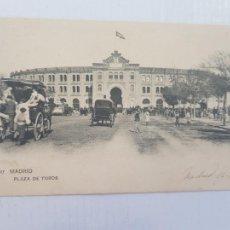 Postales: MADRID PLAZA DE TOROS COCHES 1907 CIRCULADA Y FRANQUEADA. Lote 263719110