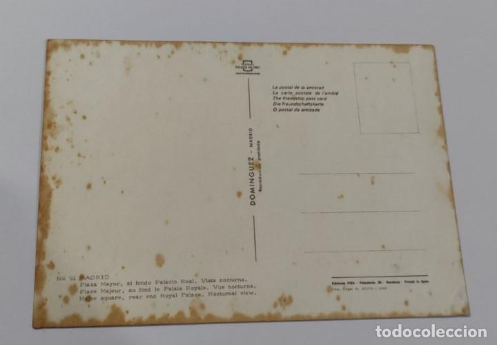 Postales: POSTAL MADRID PLAZA MAYOR, AL FONDO PALACIO REAL. VISTA NOCTURNA - Foto 2 - 265789224