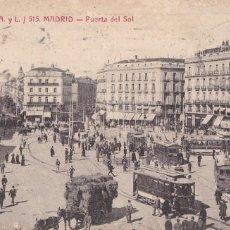 Postais: MADRID PUERTA DEL SOL (TRANVIA). ED. CASTAÑEIRA Y ALVAREZ Nº 515. CIRCULADA EN 1915. Lote 267825199