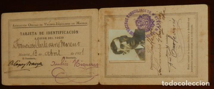 CARNET DE LA ASOCIACION OFICIAL DE VECINOS INQUILINOS DE MADRID, TARJETA DE IDENTIFICACION, AÑO 1931 (Postales - España - Comunidad de Madrid Antigua (hasta 1939))