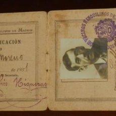 Postales: CARNET DE LA ASOCIACION OFICIAL DE VECINOS INQUILINOS DE MADRID, TARJETA DE IDENTIFICACION, AÑO 1931. Lote 267901769