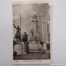 Postales: POSTAL MADRID. MONUMENTO A CERVANTES (QUIJOTE) Y EDIFICIO ESPAÑA. SIN ESCRIBIR. AÑOS 50. Lote 282058423