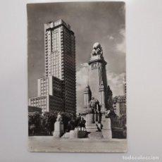 Postales: POSTAL MADRID. PLAZA DE ESPAÑA. MONUMENTO A CERVANTES. Nº 10. SIN ESCRIBIR. AÑOS 50 (TORRE MADRID). Lote 282059013