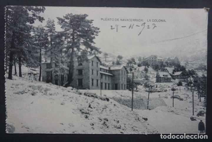 PUERTO DE NAVACERRADA: LA COLONIA, POSTAL CIRCULADA CON SELLO DEL AÑO 1927 (Postales - España - Comunidad de Madrid Antigua (hasta 1939))
