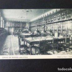 Postales: MADRID CASINO DE MADRID BIBLIOTECA. Lote 285349923