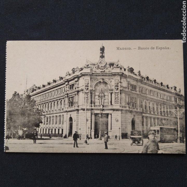 FOTOTIPIA J. ROIG - MADRID. BANCO DE ESPAÑA, COCHE CON PUBLICIDAD 'PRENSA ESPAÑOLA 3' (Postales - España - Comunidad de Madrid Antigua (hasta 1939))